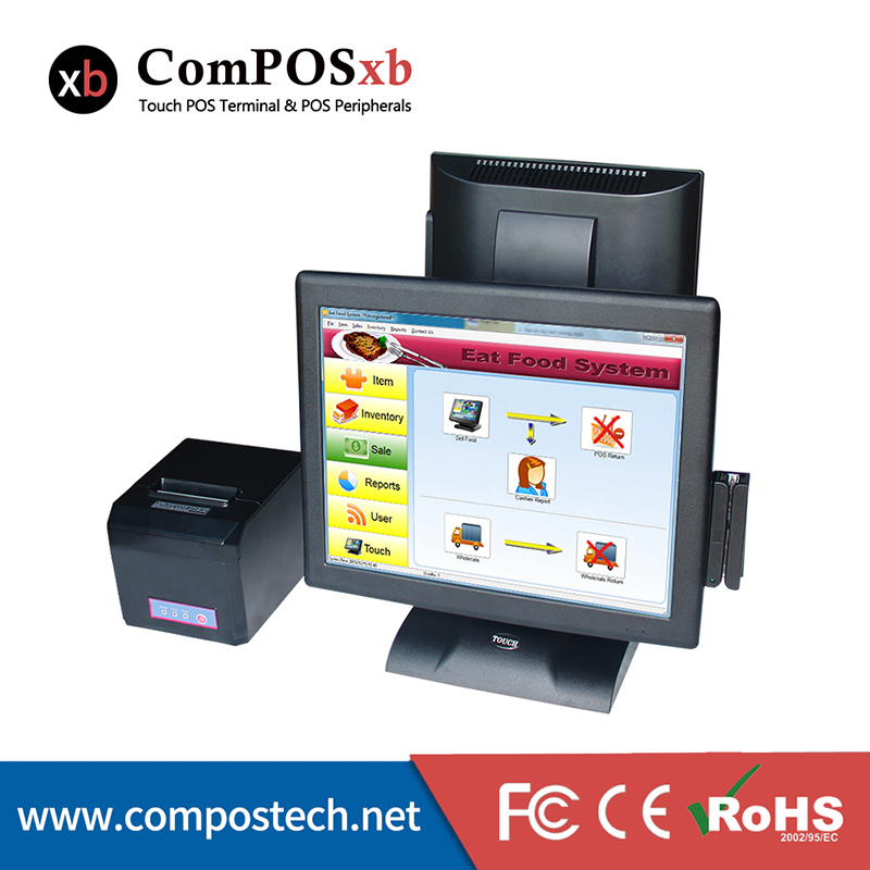 Free Shipping Double Screen Touch POS Machine Hot 15 Touch All in One PC Cash Register POS Terminal With Printer