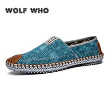 WOLF WHO Classic canvas shoes men lazy shoes blue Breathable Espadrilles Slip On sneakers men Loafers buty meskie krasovki X-073