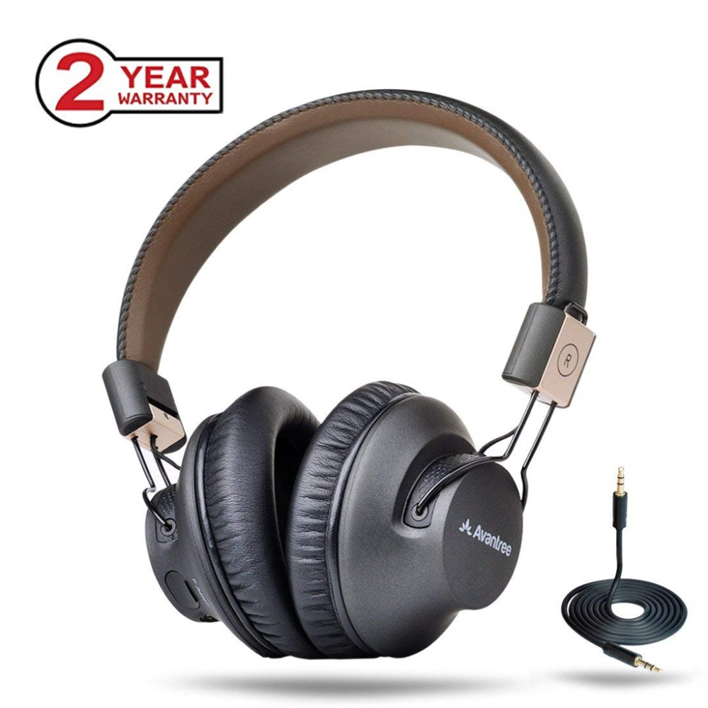 Avantree draadloze bluetooth-over-oor-hoofdtelefoon met microfoon, LOW LATENCY Snelle audio aptX-headset voor pc met gaming-tv