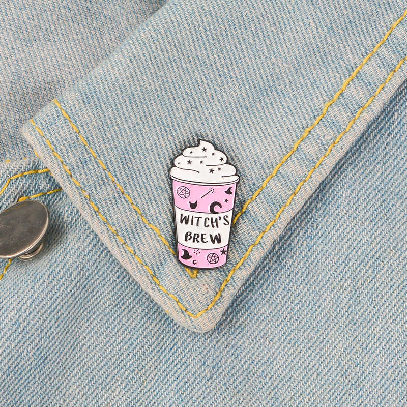 QIHE украшения, розовая кружка, штифт, волшебная палочка, шляпа, пентаграмма, Moon, брошки, штифты на лацкан, Wicca, колдовские украшения