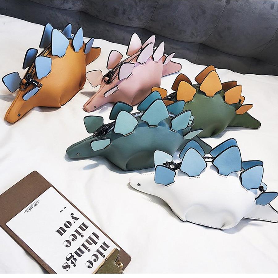 Criativo dos Desenhos Presente da Menina Dusun Camaleão Animados Bolsas Aleta 3d Engraçado Dinossauro Animal Mensageiro Bolsa Panelled Ombro Crossbody