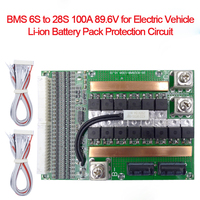 BMS 6S to 28S 100A Adjustable 89.6V with Balancing for Electric motor Car PCM 18650 Battery pack Lithium Balance Charging Board