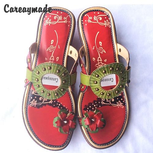 CareaymadeReal tongs en cuir confortable style folk peint à la main couleurs bonbons fleurs l'art rétro mori fille chaussures pantoufles-in Pantoufles from Chaussures    1