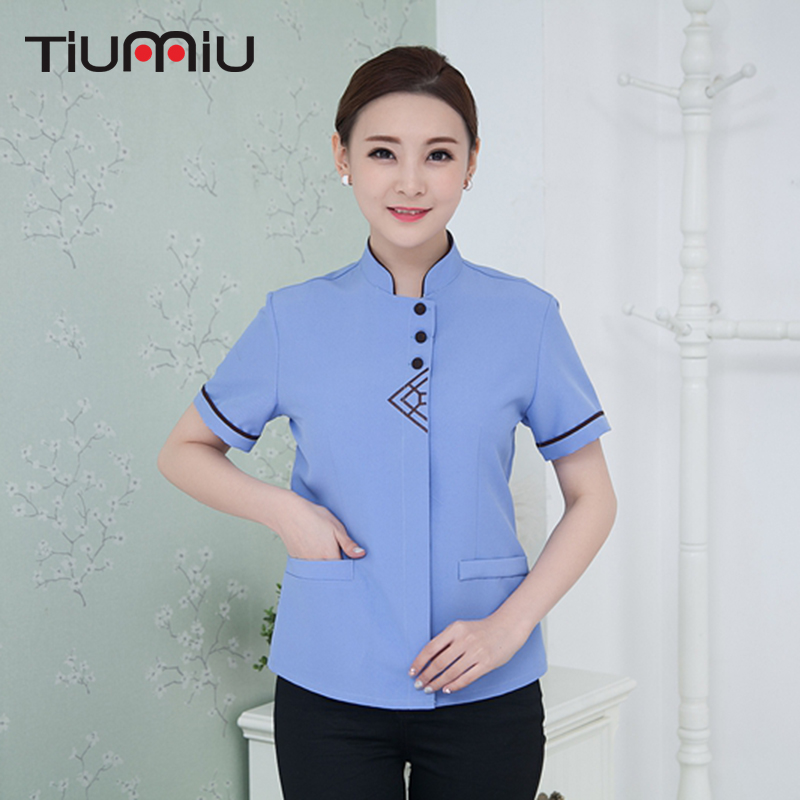 Summer Cleaning Waiter Uniforms Short Sleeve Work Uniforms Triangular Embroidery Cleaning Waiter Men Women Food Service Uniforms