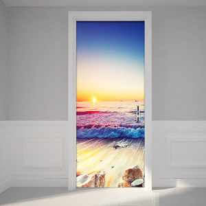 Seaside Landscape Door Sticker PVC Self-Adhesive Living Room Bathroom Waterproof Wall Door Sticker Home Decor Paste 3D Wallpaper