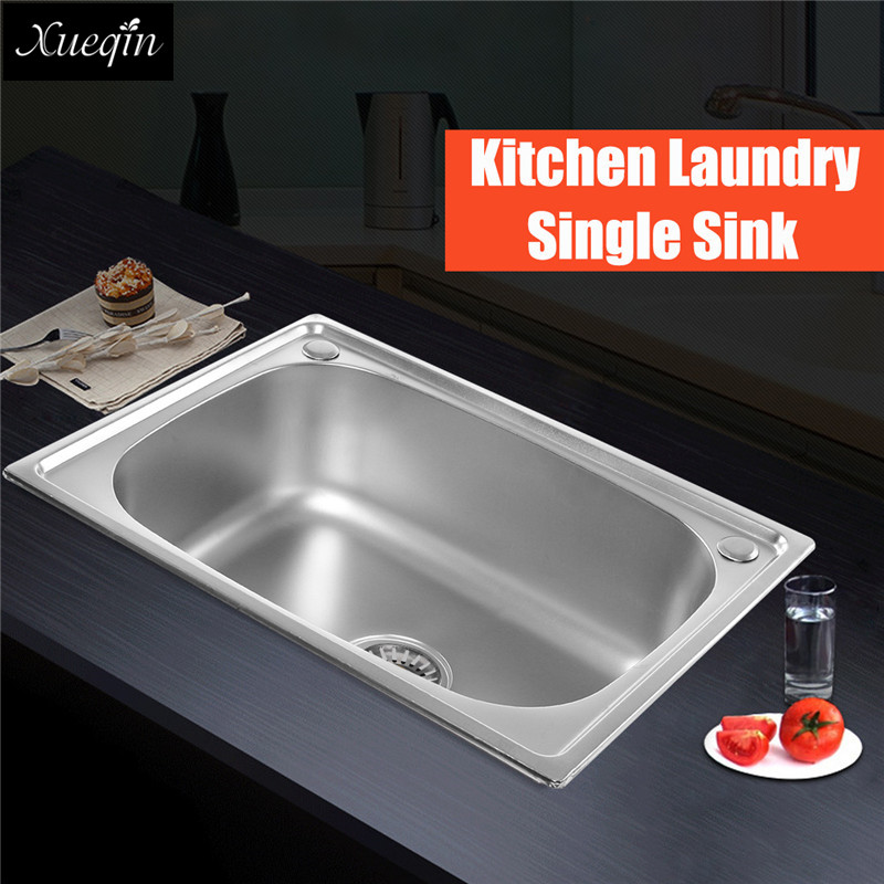 60X45x20cm Square 201 Stainless Steel Kitchen Sink Basin Single Hole ...