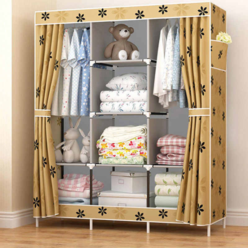 Multi-purpose Non-woven Cloth Large Wardrobe Closet DIY Assembly Fabric  Closet Folded Clothing Storage Cabinet Bedroom Furniture