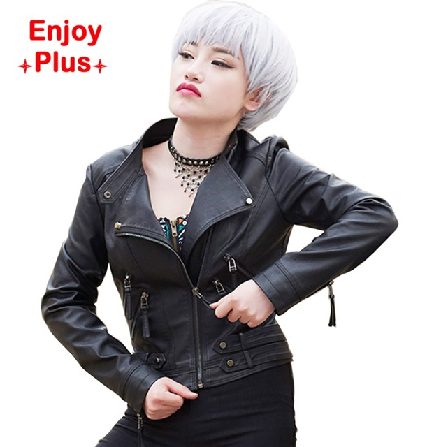 ENJOY PLUS 10%OFF chest 87-103cm fall 2016 faux pu short black women jacket leather collar plus size motorcycle zipper S- XXL