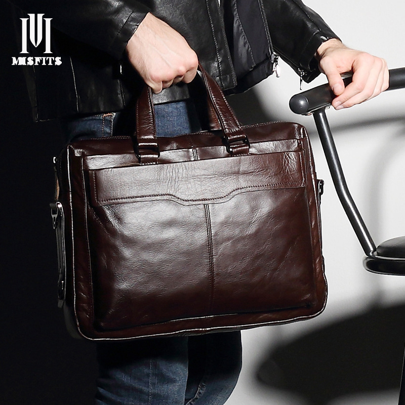 MISFITS Men Genuine Leather Briefcase Male Retro Handbag Vintage Top Layer of Cowhide Messenger Bag Laptop Tote Bags NZ4026