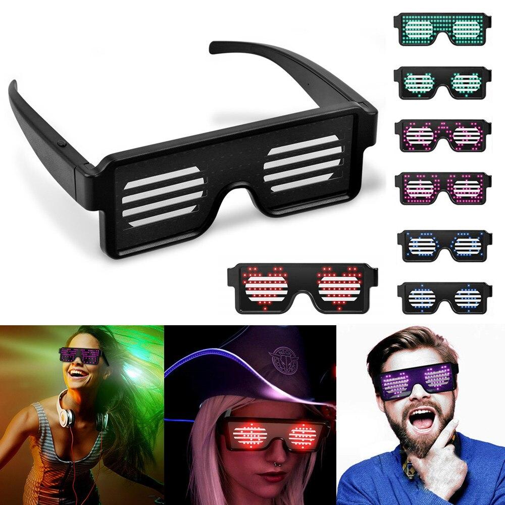 8 Animation Modes Rechargeable Flashing LED Glasses Toy
