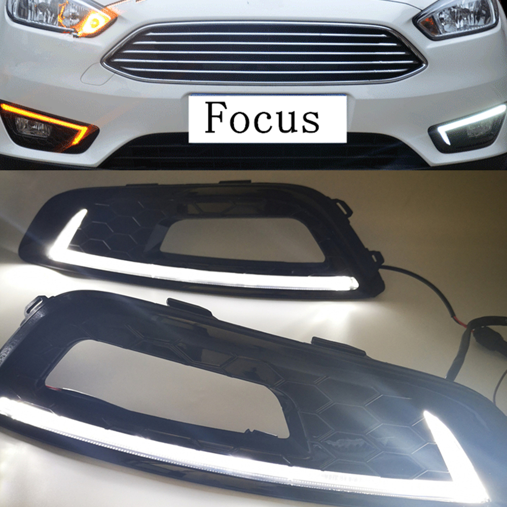 2pcs car styling for Ford Focus 4 2015 2016 2017 2018 LED DRL Daytime Running Lights
