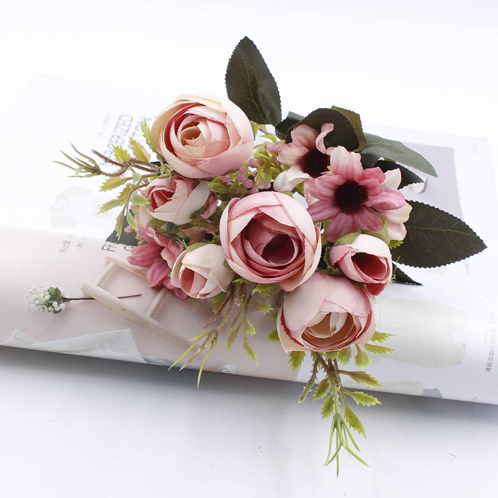 1 artificial flower bouquet cheap silk flower fall european small tea bud fake leaf vases for wedding decoration party at home in artificial dried 1 artificial flower bouquet cheap silk flower fall european small tea bud fake leaf vases for wedding decora