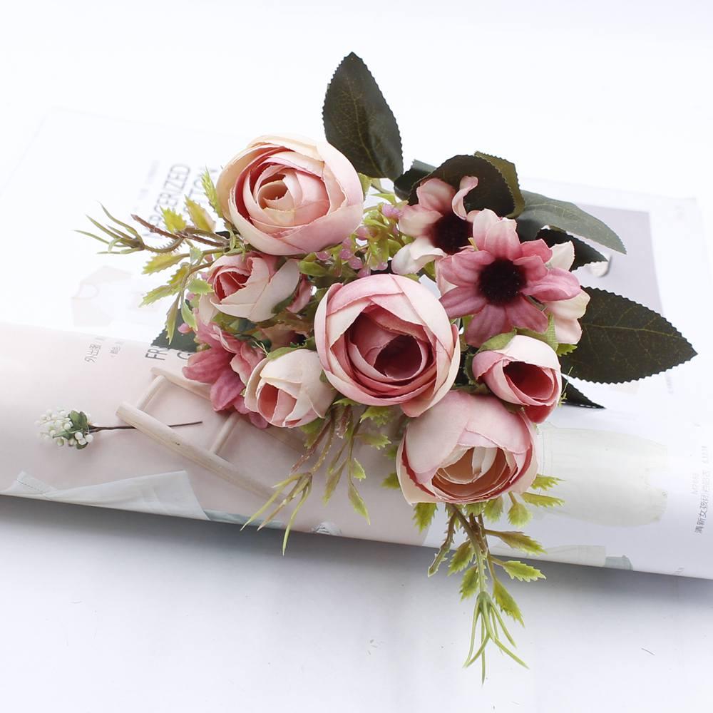 1 Artificial Flower Bouquet Cheap Silk Flower Fall European Small