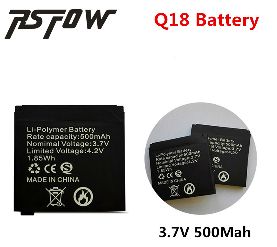 RsFow 1PCS/Lot Original rechargeable Li-ion Battery 3.7V 500MAH Smart Watch Battery Replacement Battery only For Smart Watch Q18