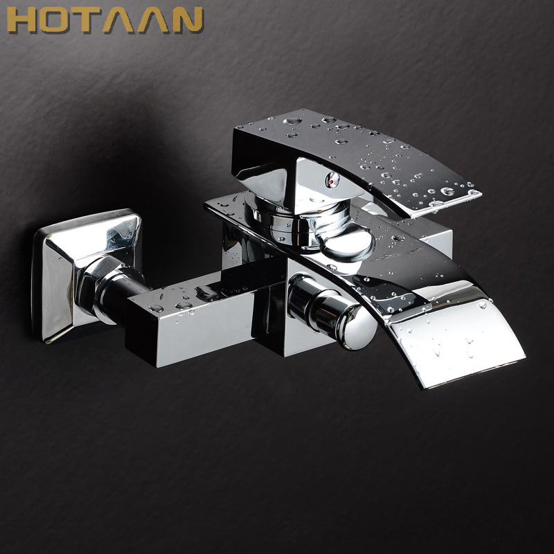 Free shipping Polished Chrome Finish New Wall Mounted Waterfall Bathroom Bathtub Handheld Shower Tap Mixer Faucet YT-5320 new shower faucet set bathroom thermostatic faucet chrome finish mixer tap handheld shower wall mounted faucets
