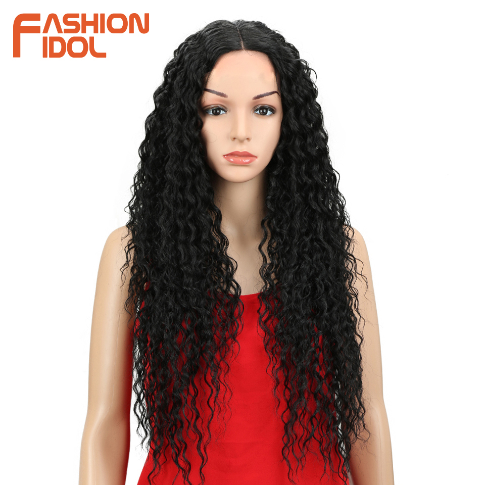 FASHION IDOL Afro Kinky Curly Hair With Closure For Black Women Soft Long 30inch Ombre Golden Synthetic Hair Heat Resistant(China)