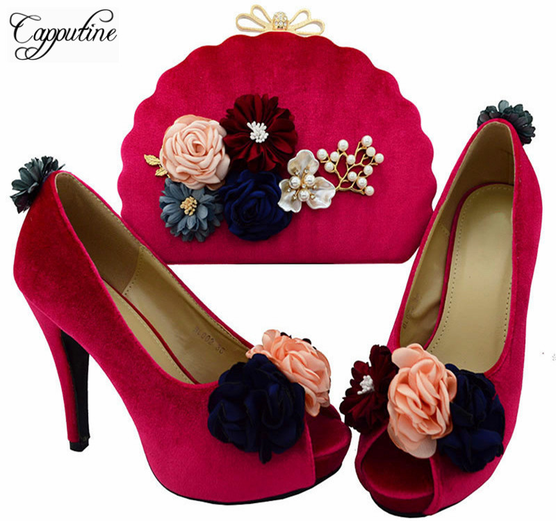 Capputine African Style Flowers Fuchsia Shoes And Bags Set Italy Woman High Heels Shoes And Bag Set For Wedding Dress BL0025 цена
