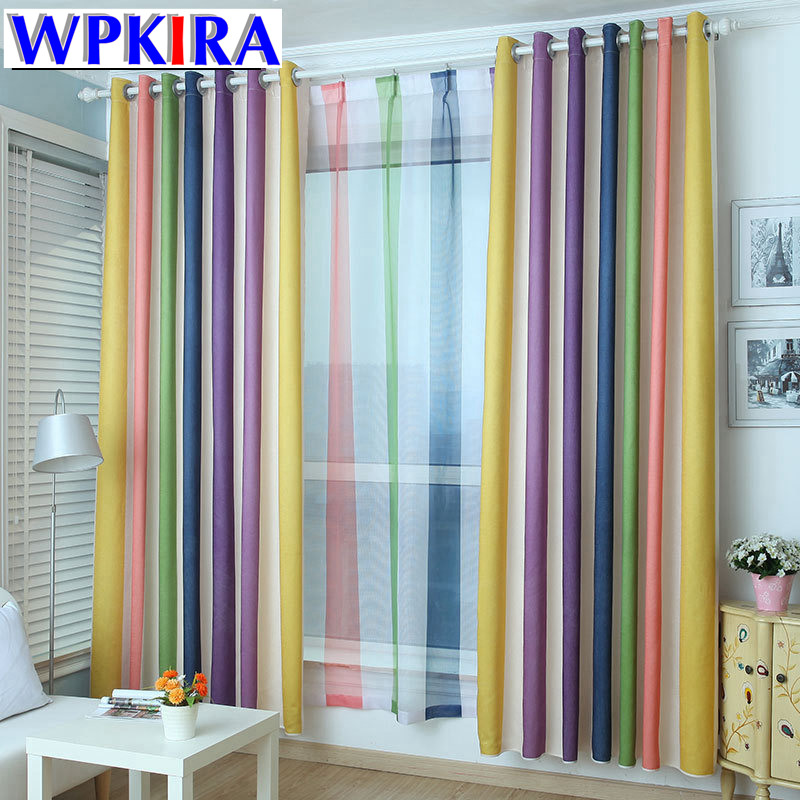 Blue color modern cartoon rainbow blackout curtains for - Childrens bedroom blackout curtains ...