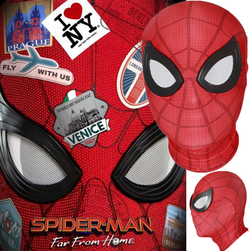 Spider-Man: Far From Home Peter Parker Mask Lenses 3D Cosplay Spiderman Superhero Props Masks(China)