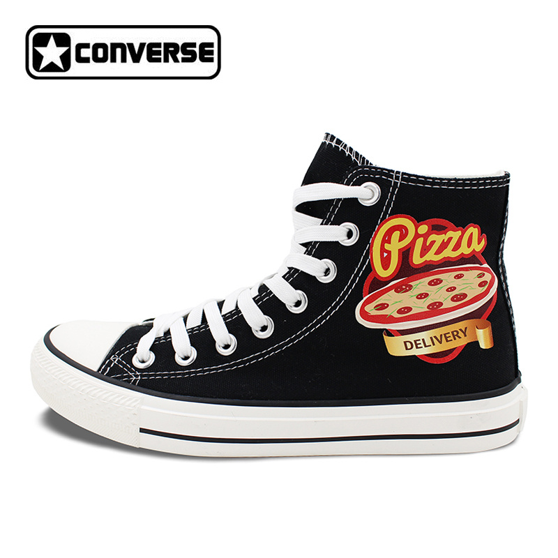Unisex Black Converse Chuck Taylor Pizza Design High Top Canvas Sneakers Flats Lace Up Shoes