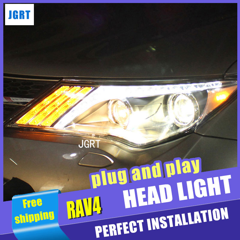 Car Styling forToyota RAV4 LED Headlight assembly 2014 TLZ Headlight DRL Lens Double Beam H7 with hid kit 2 pcs.