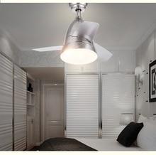 Mini chandelier fan LED remote control dining room living room children's room Simple modern bedroom fan light fan chandelier