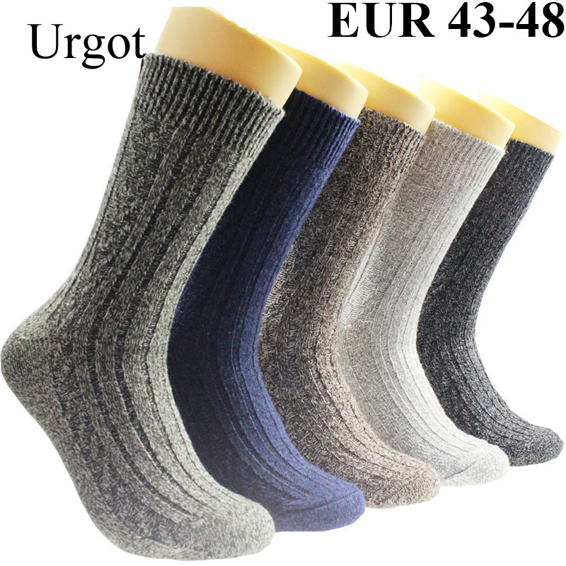 Urgot 10PCS=5 Pairs Men's Wool Warm Socks Plus Large Big Size 44, 45, 46, 47, 48 Thicken Wool Socks Men Meias Calcetines Hombre