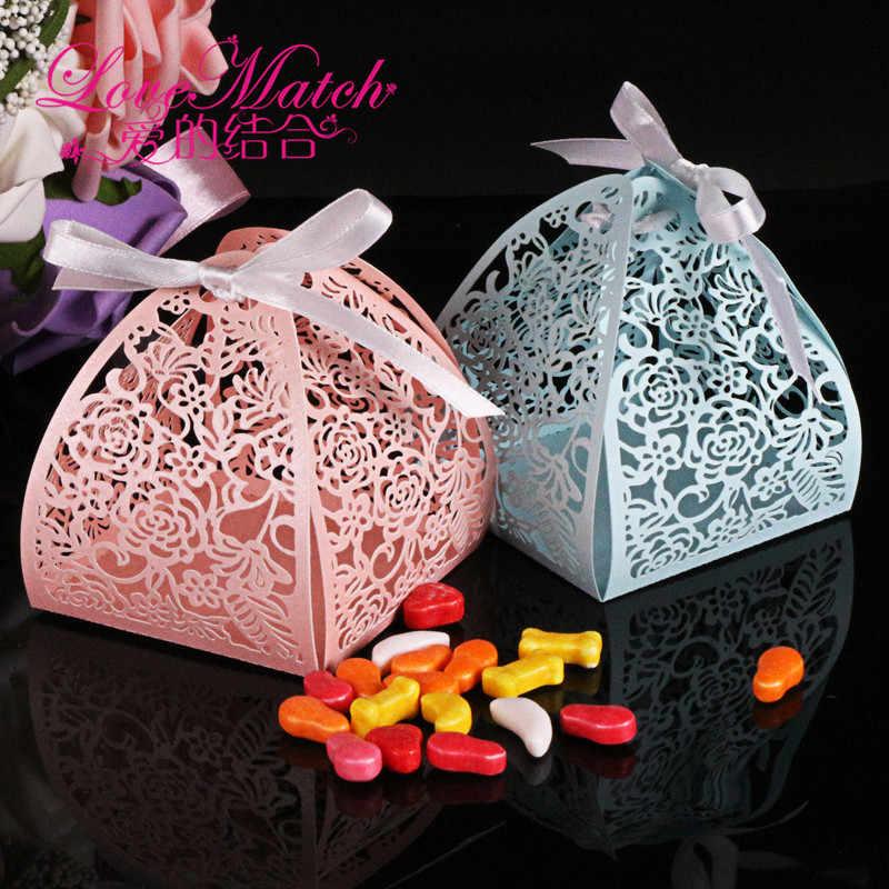 50 шт с цветами лазерной резки коробка конфет на свадьбу свадебный подарок для гостя Сувениры и подарки Рождество и День рождения украшения
