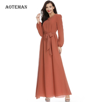 Autumn Winter Dress Women 2019 Casual Elegant Solid Long Dresses Female Vintage Belt Lantern Sleeve Party Dress Vestidos Black