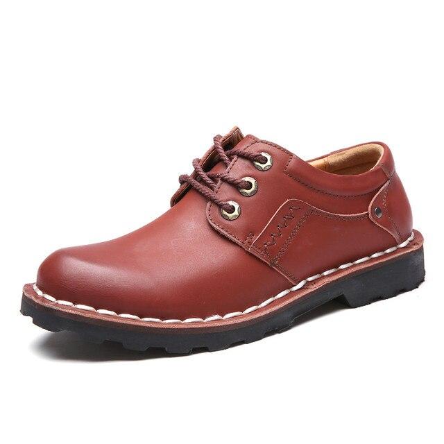 עסקי עור אמיתי גברים נעליים יומיומיות למבוגרים איש איכות אביב סתיו הנעלה עגול הבוהן זכר שרוכים נעלי אוקספורד