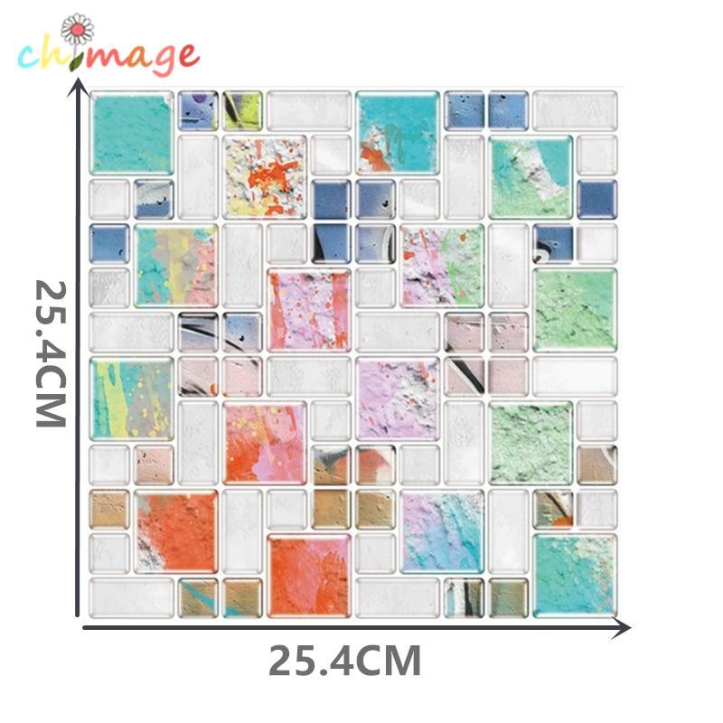 3D Self Adhesive Mosaic Tile Wall Sticker DIY Kitchen Bathroom Backsplash Home Decor Foil Wallpaper H