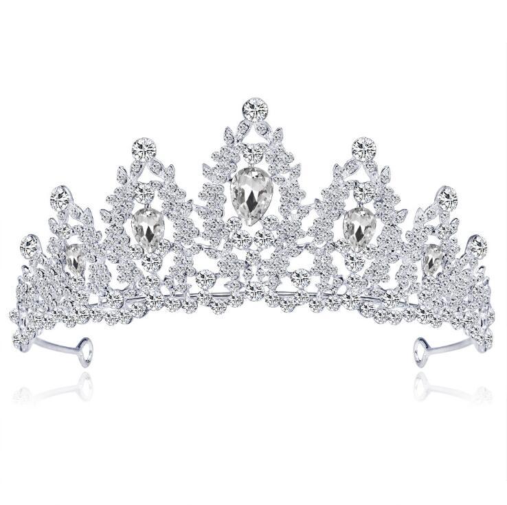 KMVEXO Baroque Silver Color Blue Crystal Wedding Tiara Brides Headband Bridal Rhinestone Pageant Tiaras and Crowns Hair Jewelry