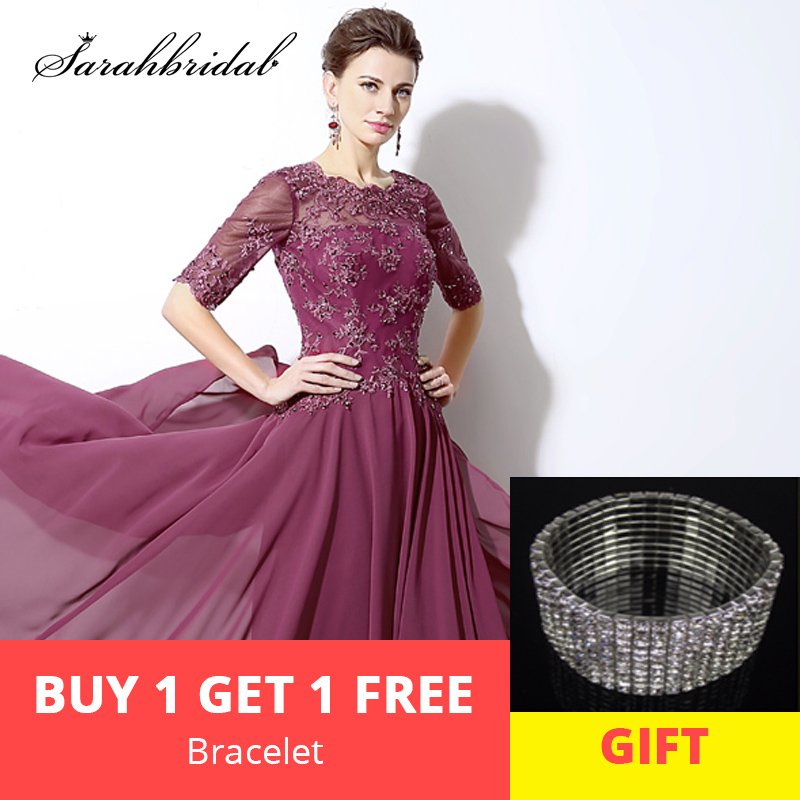 Spring A Line Chiffon Mother of the Bride Dresses with Half Sleeve Back Lace O Neck