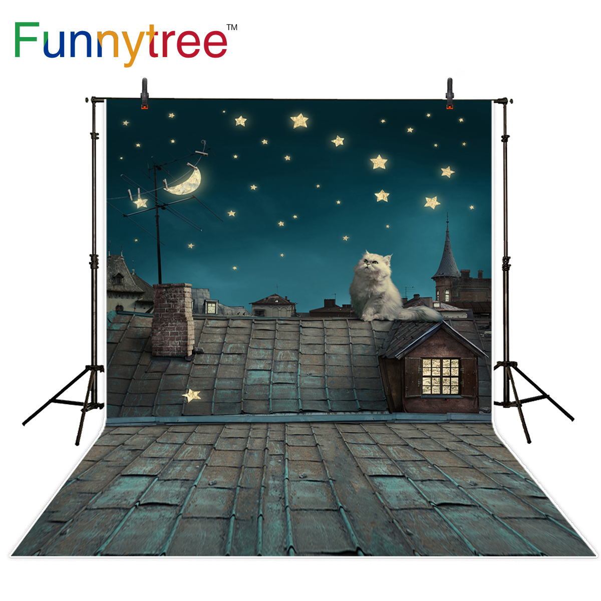 Funnytree background for photo studio fairy tale brick roof cat stars moon night backdrop photobooth photo prop photocall vinyl photography background fairy tale