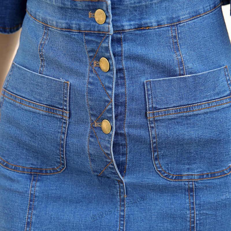 Облегающее платье миди с расклешенными рукавами, женское летнее платье vestidos 2019, новое джинсовое платье с карманами и пуговицами, сексуальное женское джинсовое платье для подиума