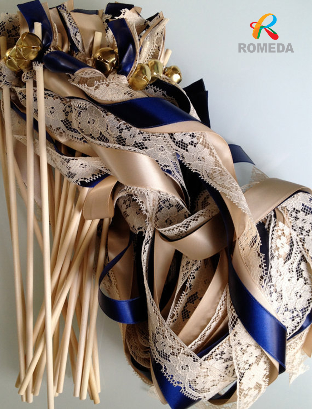 Wedding Wands Lace Ribbon Bells Streamers Birthday Party Gold Silver