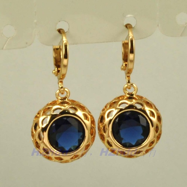 1 18 Inch 30mm Real Dainty 18k Yellow Gold Gp Dangle Earring Blue Stone Whole