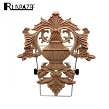 RUNBAZEF Promotions    European Style Woodcarving Decal Home Furniture Carved Applique Window Door Decor Wooden Figurines Crafts
