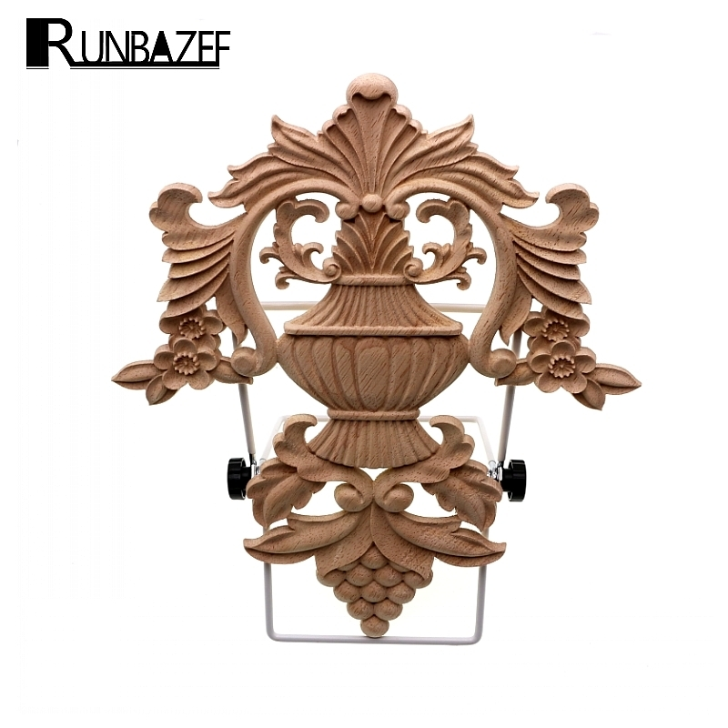 RUNBAZEF Promotions Style Européen Sculpture Sur Bois Sticker Home Meubles Sculpté Applique Fenêtre Porte Décor En Bois Figurines Artisanat