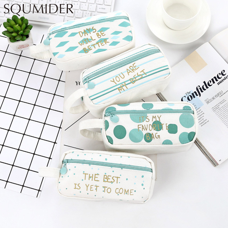 Creative Pencil Case Simple Design Style Zipper Pencil Bags Large-capacity Pencil Box School Supplies Stationery Students