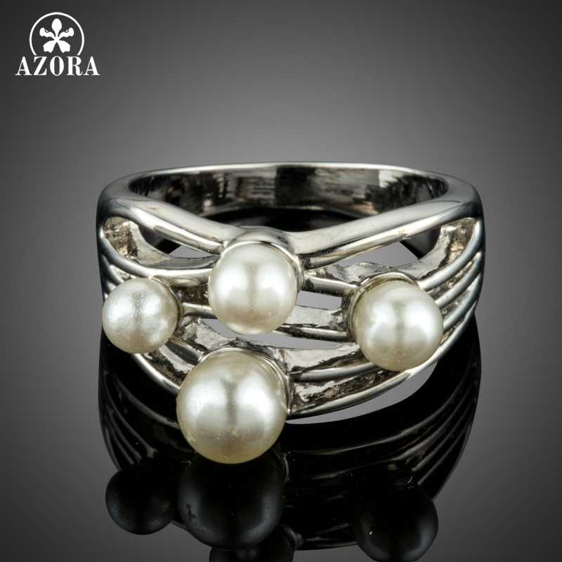 AZORA Brand Fashion White Gold Color and Simulated Pearl Romantic Engagement Finger Rings Jewelry TR0206