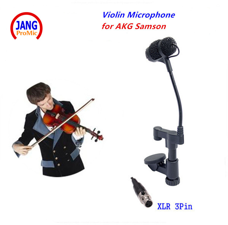 Professional Instrument Violin Microphone Mandolin Viola Mikrofone for AKG Samson Wireless System Transmitter Mini XLR 3Pin  professional lapel music instrument microfone double bass microphone lapeal for shure wireless system xlr mini microphones