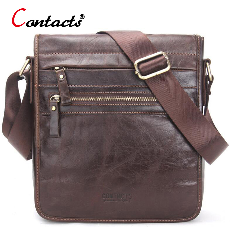 CONTACT'S Genuine Leather Bag Men Messenger Bags Large Capacity Business Male Crossbody Bags Designer Travel Men Bag Leather елена глебова моя русская кухня