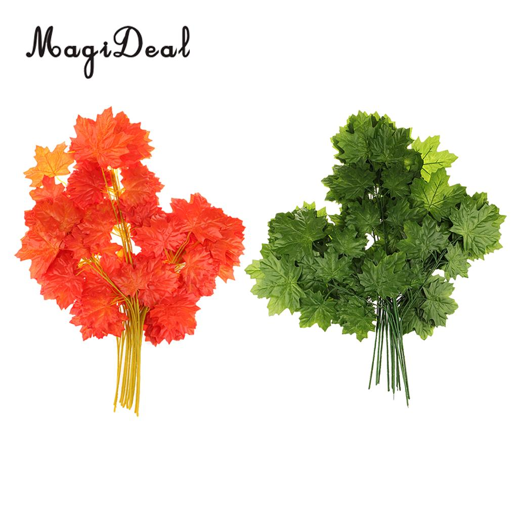 2 Sets Artificial Maple Leaves 2 Color Mixed Rich Fall Colored Leaves for Weddings Decorations or Christmas Party