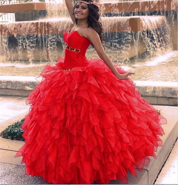 6b2ee4da5 Sexy 2017 Red Quinceanera Dresses Ball Gown Beaded Crystals Appliques  Ruffles Sweet 16 Dress Vestidos 15 anos Prom Gowns Grils
