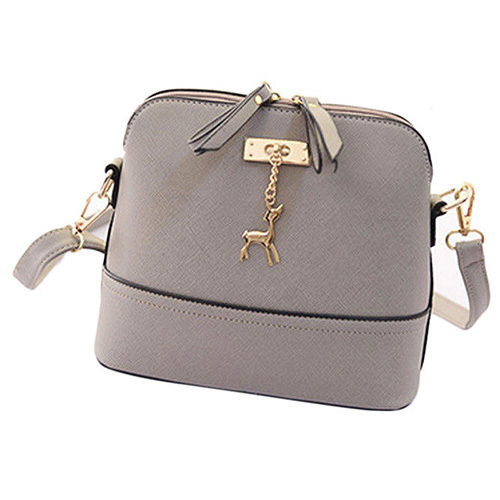 FGGS Hot New Women Messenger Bags Vintage Small Shell Shape Leather Handbag With Deer Toy Casual Bag Main Colour: Gray 2018 new retro women messenger bags candy color shell bag casual pu leather shoulder bag fashion women mini bag with deer toy