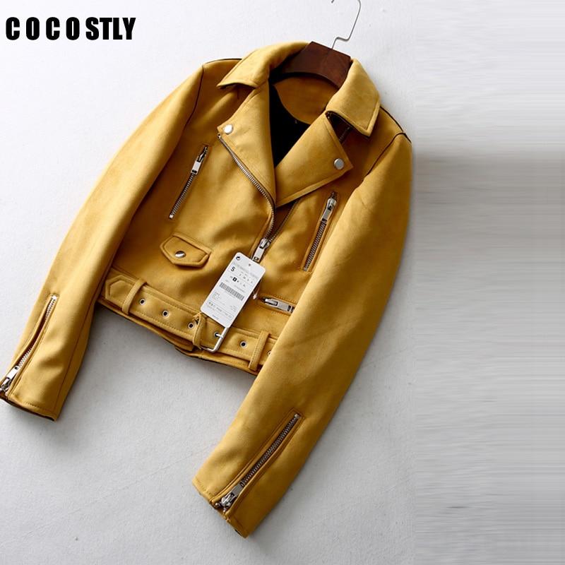 Suede   jacket Women Spring 2018 Fashionable Short Slim Ladies   Suede   Bomber jackets Long Sleeve Casual Coat Belt