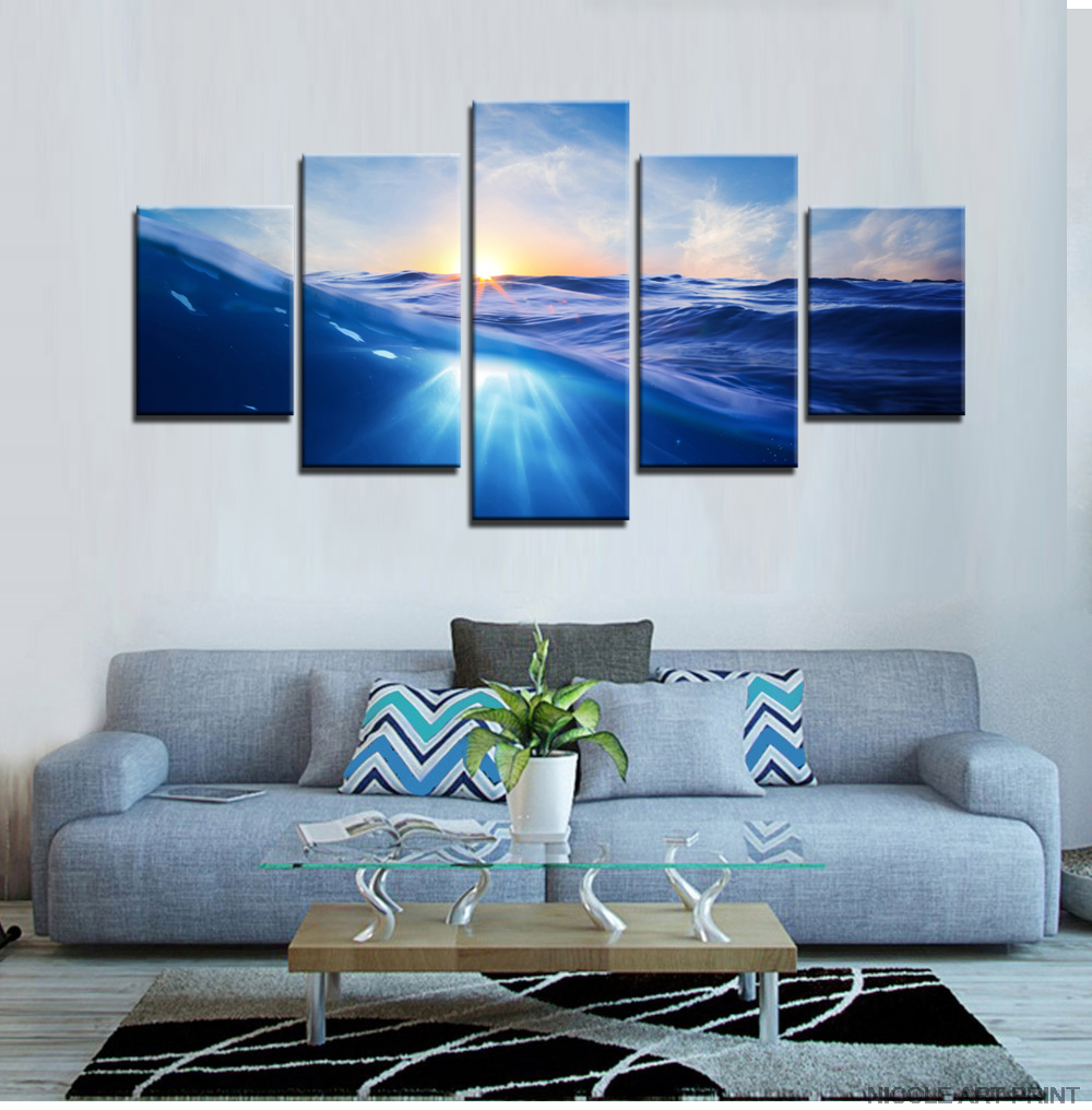Sea And Sunrise Canvas Prints Picture Oil Painting Wall