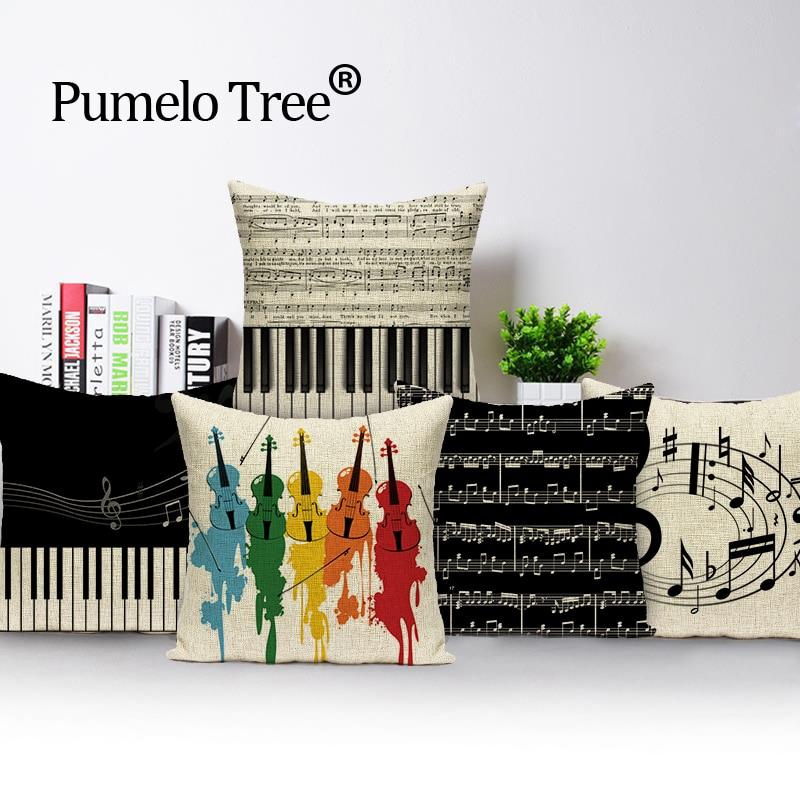 Instrumente muzicale Note perne acoperă perne acasă Decor personalizat acoperă perna în aer liber perne Perioadă de aruncare perne
