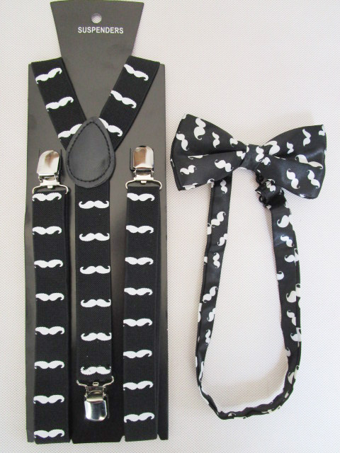 Free Shipping 2019 New Fashion Women Black Mustache Printed Suspenders And Bow Ties Sets